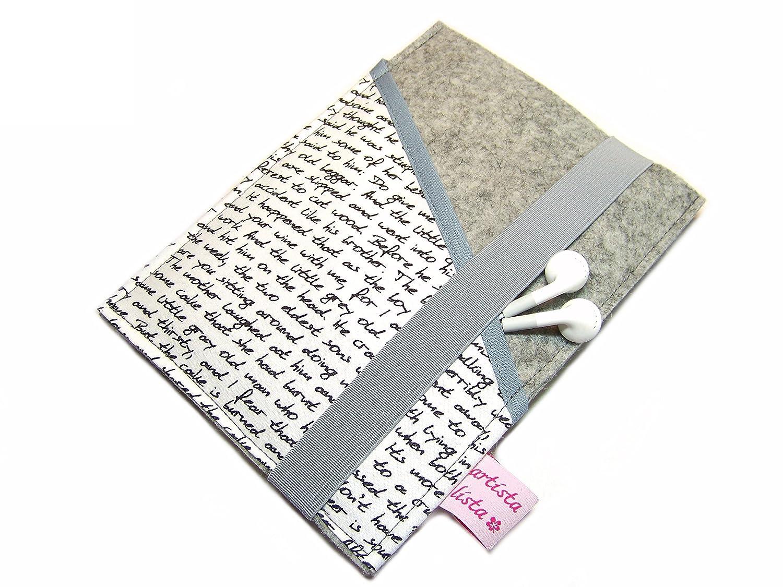 eBook Reader eReader Hülle Wollfilz + Stoff Poesie, Maßanfertigung Maßanfertigung