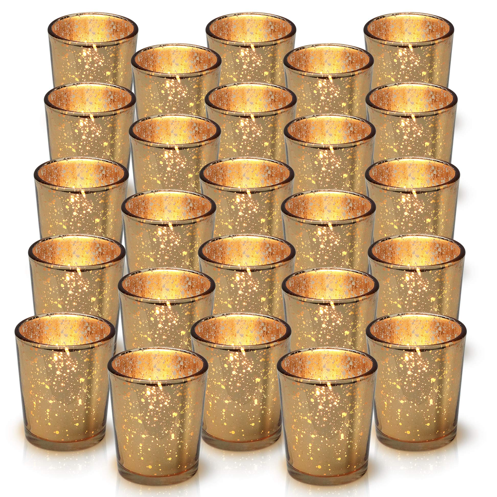 cbb1be0f68964 Details about Granrosi Gold Mercury Votive Candle Holder Set of 25 - Made  of Mercury Glass
