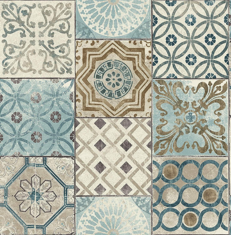 Amazon モロッコタイル 壁紙 ブルー ブルー Rn714 壁紙