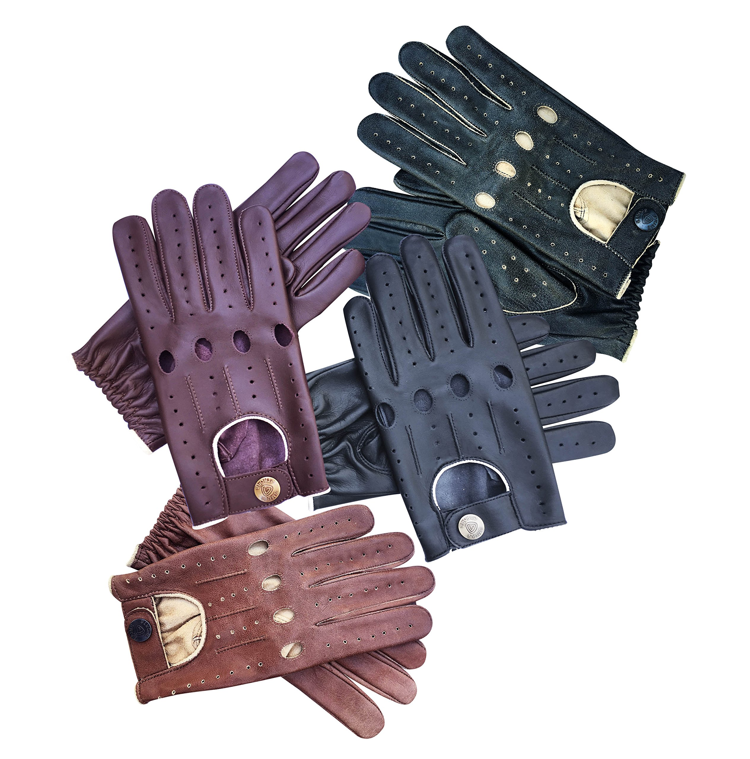 75952e8edbf30 Prime Sports Men's Genuine Leather Driving Gloves (Large, Brown Cracker)