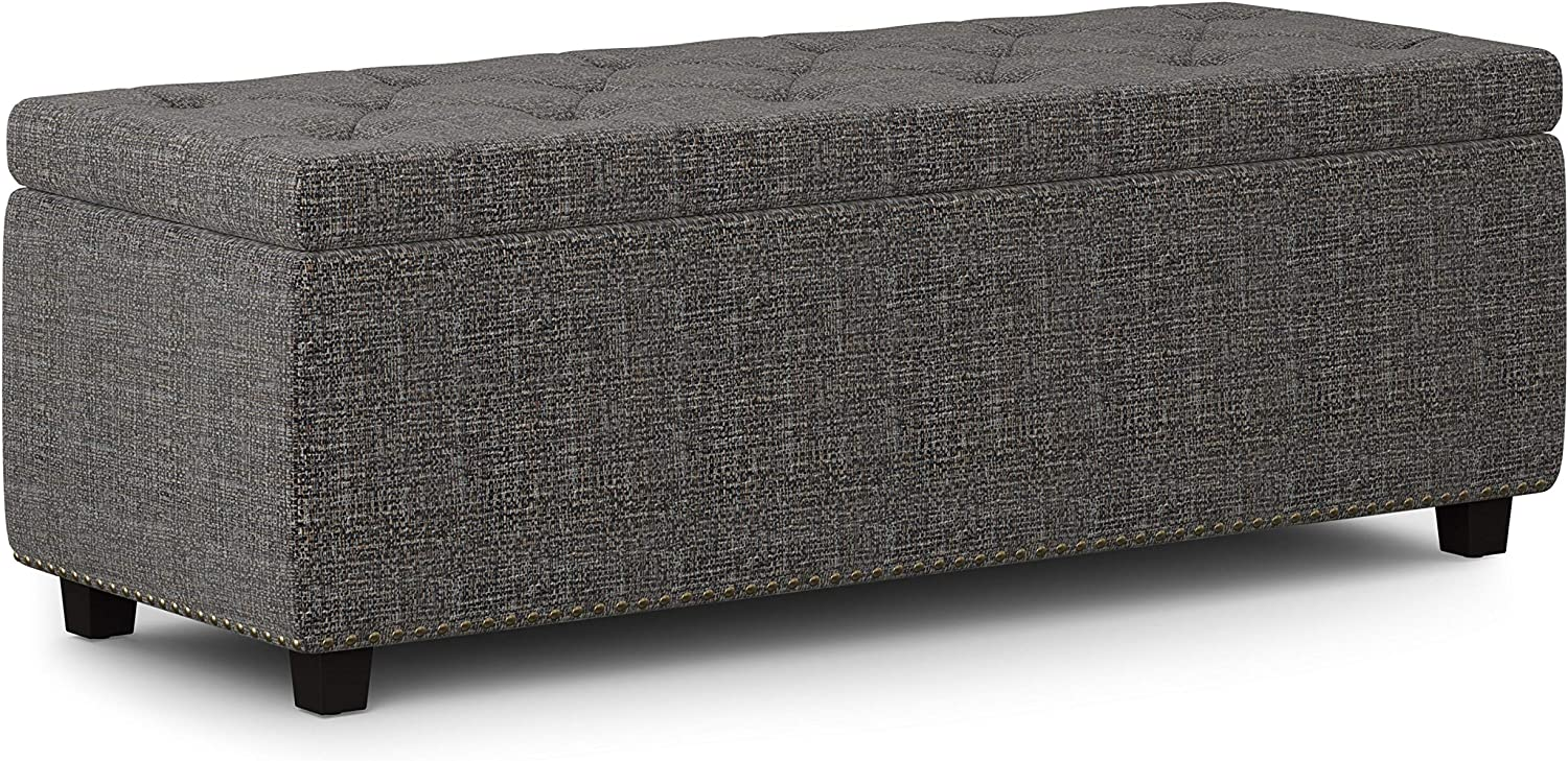 SIMPLIHOME Hamilton 48 inch Wide Rectangle Lift Top Storage Ottoman in Upholstered Ebony Tufted Tweed Fabric with Large Storage Space for the Living Room, Entryway, Bedroom, Traditional