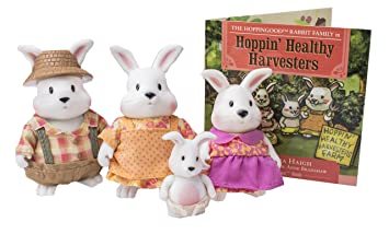 Lil Woodzeez Hoppingoods Rabbit Family Set With Storybook