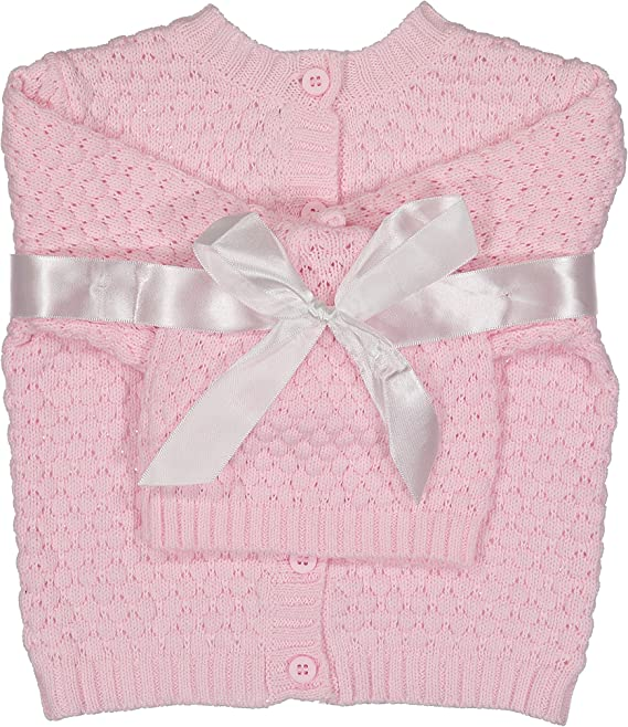 Baby Dove Newborn Popcorn Knit Cardigan /& Beanie Gift Set-A Perfect Baby Sweater /& Hat Outfit