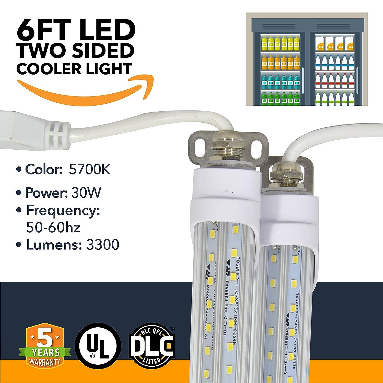 LED Refrigeration Cooler Lights - LED Powered Double-Sided Walk-in Cooler Lights - (25 Pack)