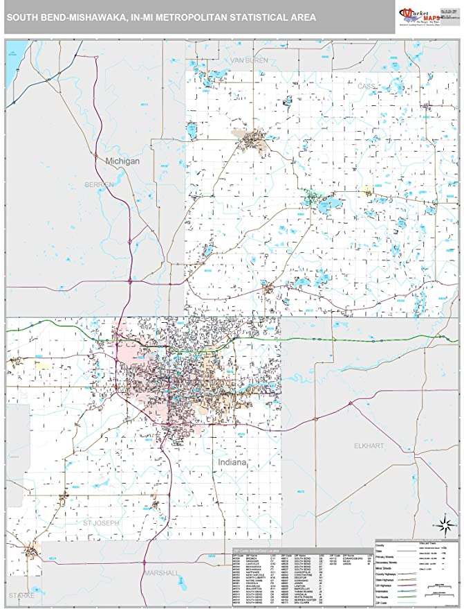 Mishawaka Zip Code Map.Amazon Com Marketmaps South Bend Mishawaka In Metro Area Wall Map