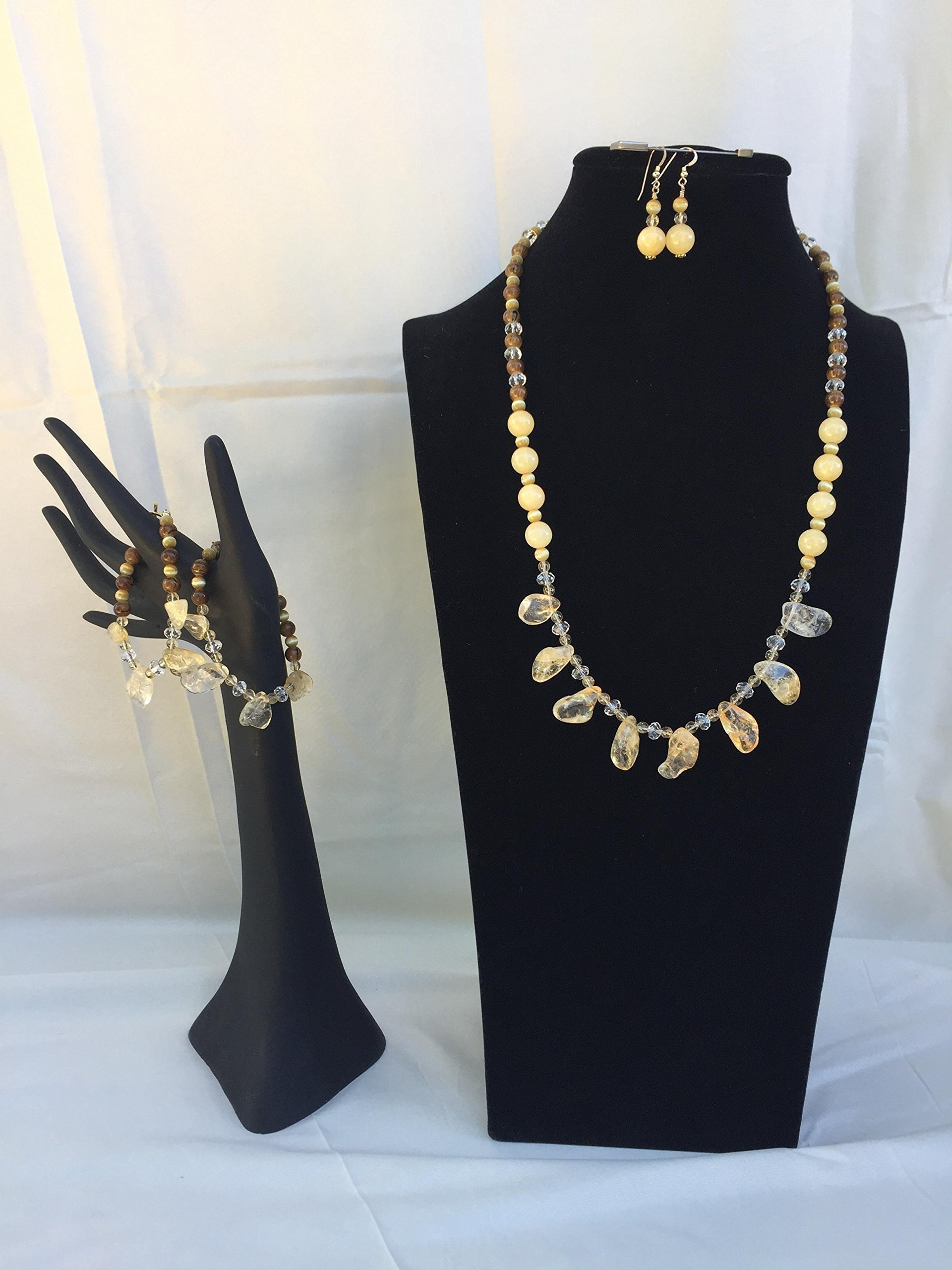 Gorgeous handmade Citrine jewelry set with a necklace, two bracelets and matching dangle earrings. Citrine, Opal and mixed gemstones. One of a kind