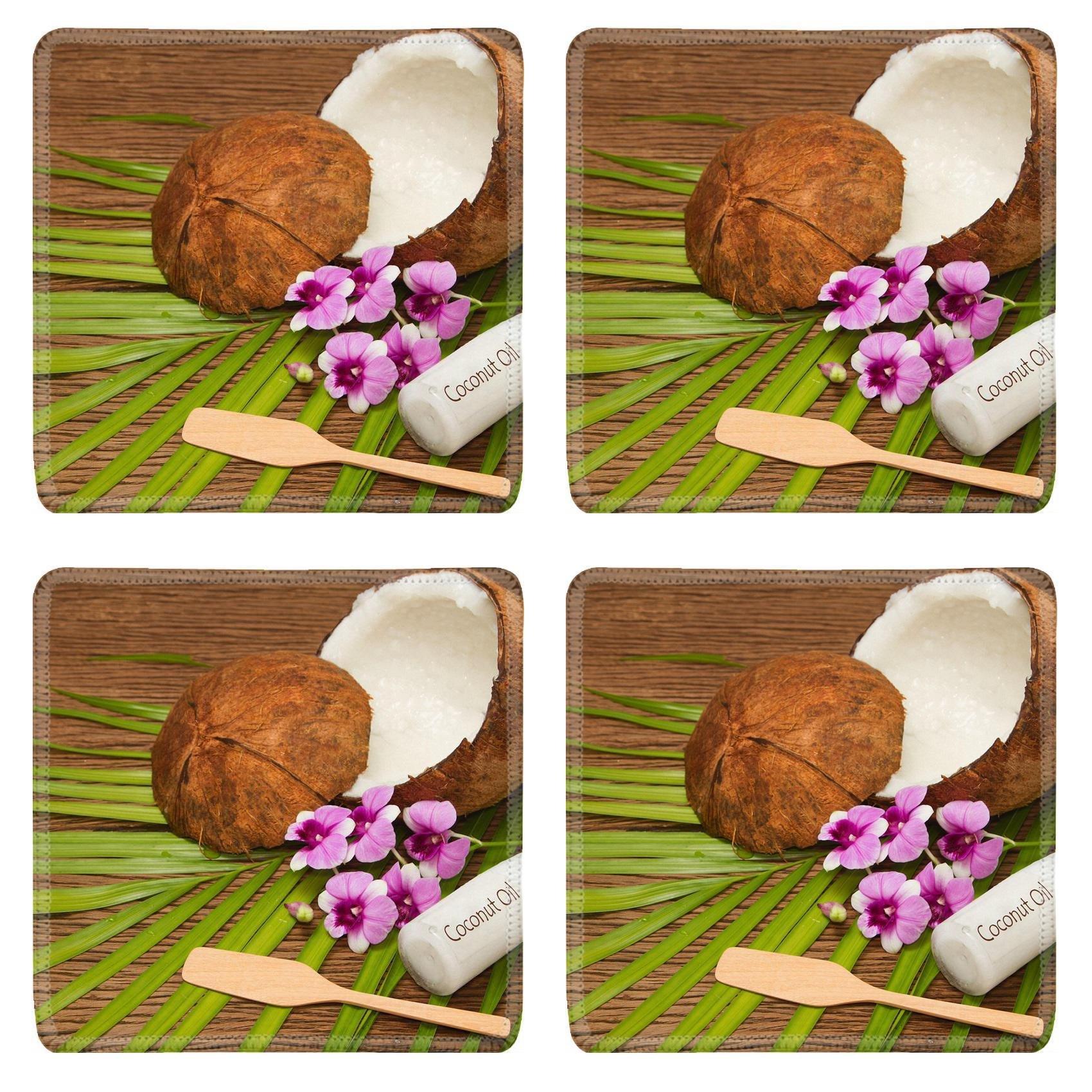 MSD Square Coasters Non-Slip Natural Rubber Desk Coasters design 29018963 Coconut and organic coconut oil for beauty spa