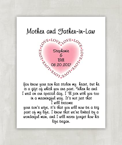 Amazon.com: Gift For Grooms Parents - Parents In Law Wedding Gift ...
