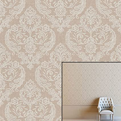 Crown Calico Damask Hessian Wallpaper M1308 Paste The Wall Textured Feature