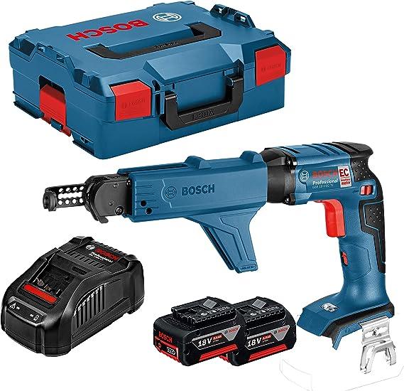 Bosch Professional GSR 18 V-EC TE + MA 55 - Atornillador a batería para placa de yeso (2 baterías x 5 Ah, 18V, 25 Nm, Hexágono interior de 1/4