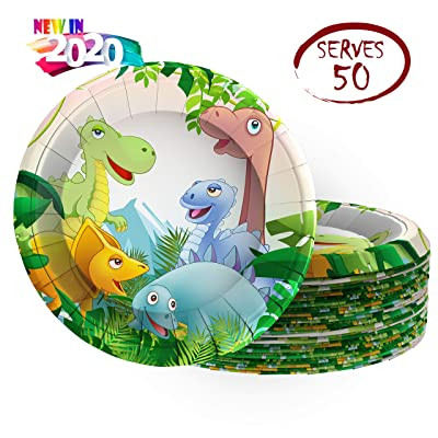 Istrion Dinosaur Disposable Party Plates, Happy Birthday Dinosaur Party Supplies Set, 50 Pack 9 Inch Dino Paper Plates for Kids Birthday Party Lunch Dinner Dessert Appetizer: Toys & Games