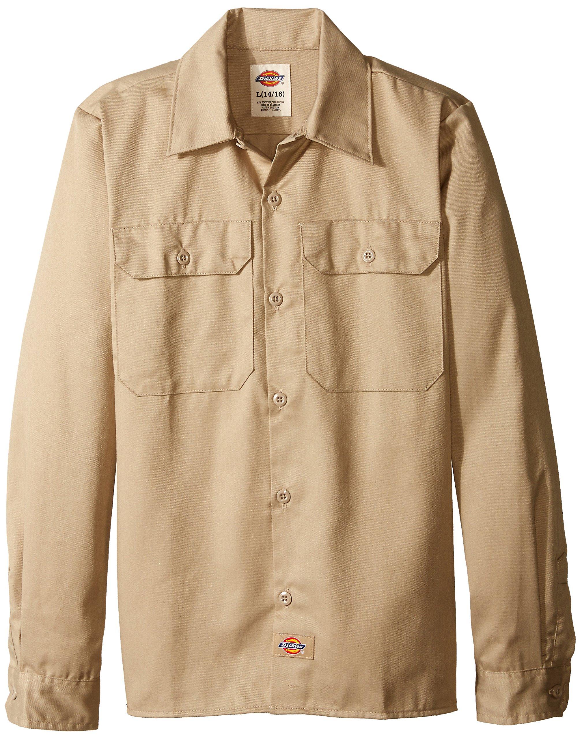 Dickies Big Boys' Twill Long Sleeve Shirt, Khaki, Large (14/16)