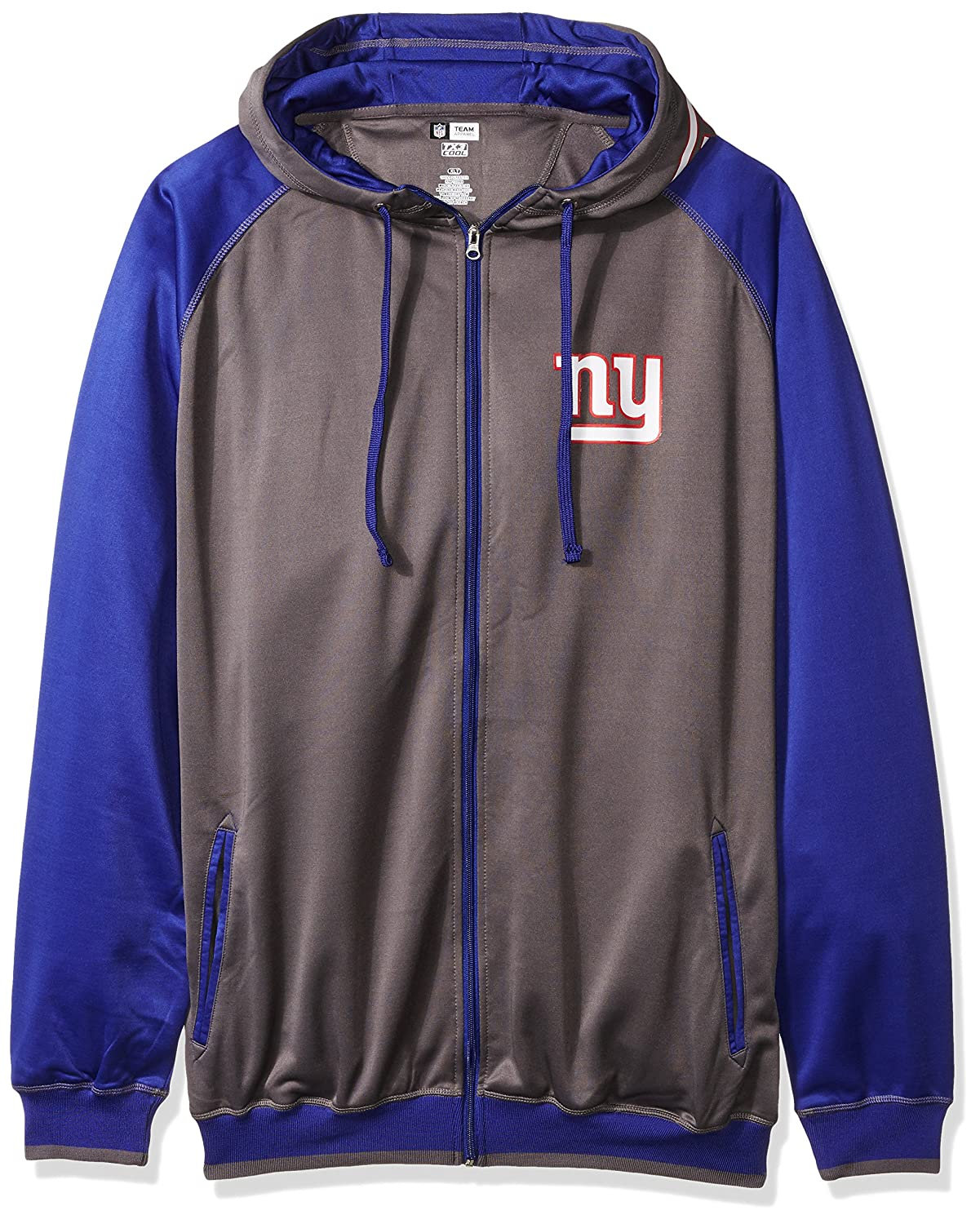 NFL Mens Giants Full Zip Poly Fleece Raglan