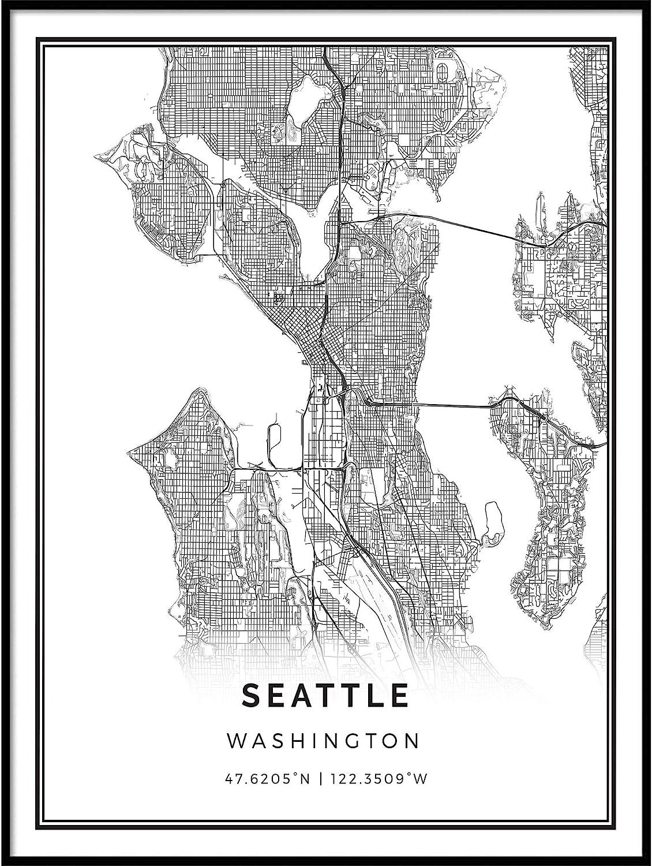 Seattle Home Decor Seattle Washington Street Map Canvas Wall Art Print