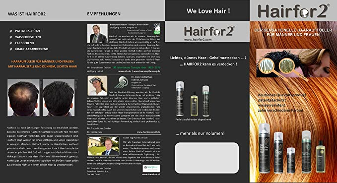Hairfor2 Hair Thickening Spray Color Medium-Brown - 100 ml: Amazon.es: Belleza