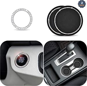 EcoNour Car Decor Crystal Rhinestone - 2.75 Inch (2 Pack) | Car Bling Ring Emblem Sticker (1 Pack) | Vehicle Bling Cup Holder Insert Coaster | Car Interior Decoration | Bling Car Accessories for Women