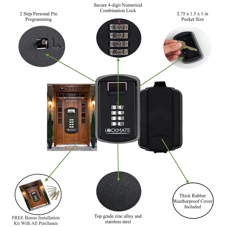 Key Lock Box /4 Digit Security Combination Passcode For Front Door ...