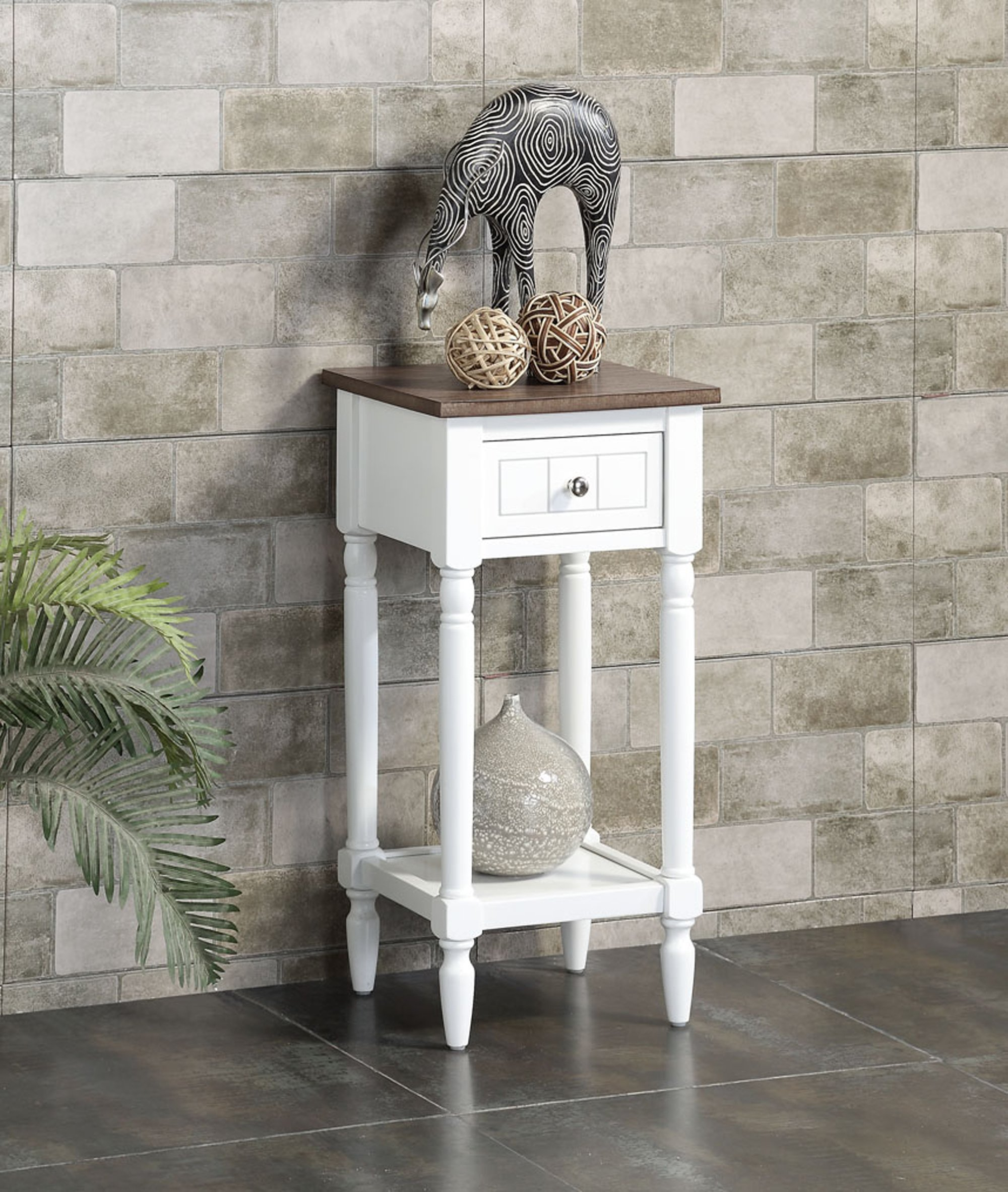 Convenience Concepts  Accent Table, Driftwood Top/White Frame by Convenience Concepts