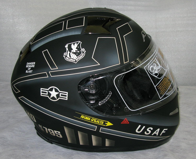 Amazon.com: 3XL AKUMA STEALTH Motorcycle Helmet MATTE BLACK with Built In LED Lights! USAF logo: Automotive