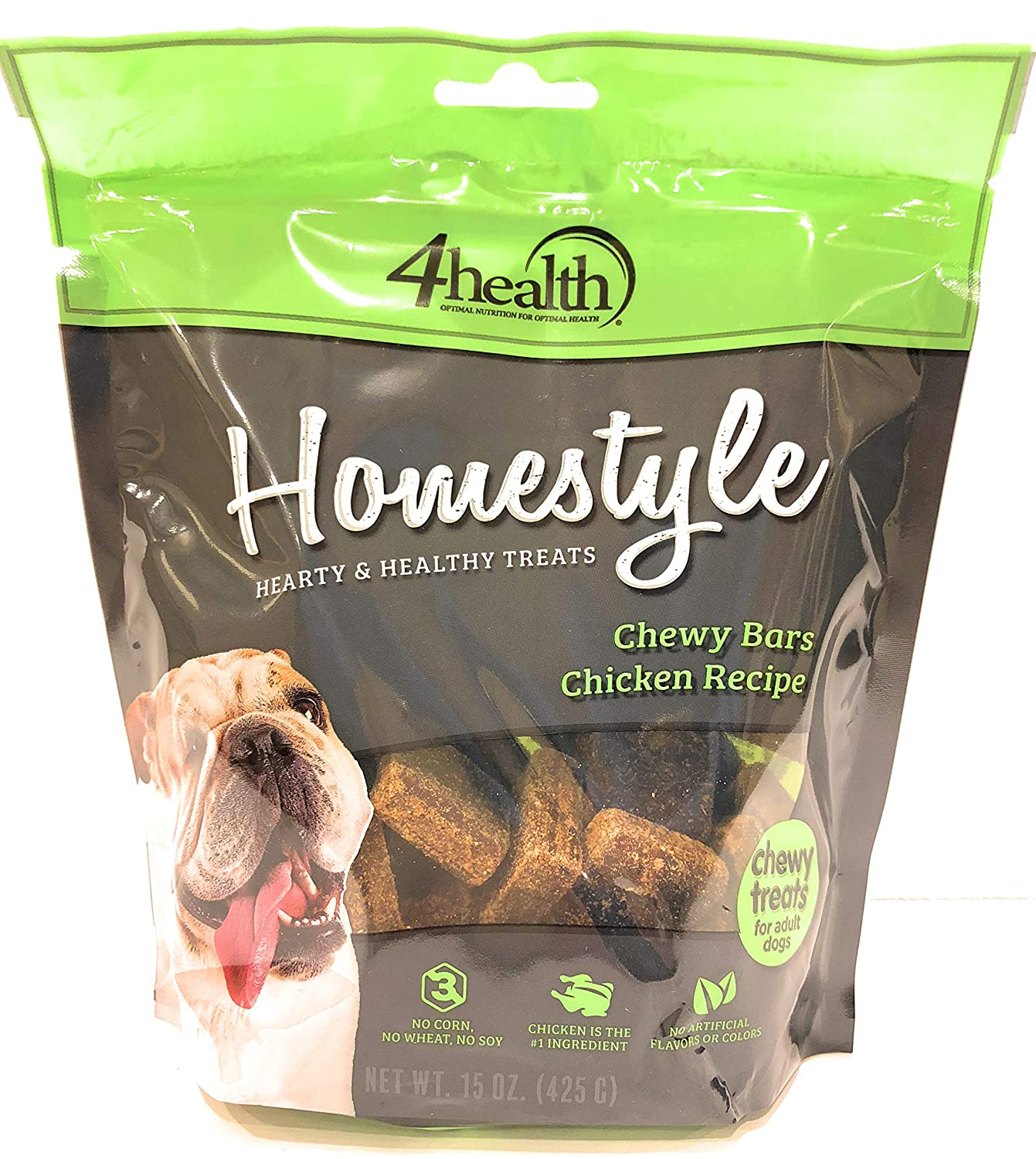 4health Homestyle, Chewy Bars Chicken Recipe, Chewy Treats for Adult Dogs, Wheat Free, 15oz