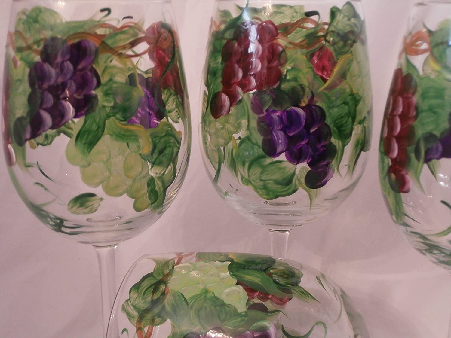 Set of 4. Hand painted multi grape goblets