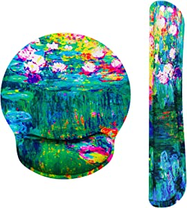 Claude Monet Water Lilies VI Ergonomic Design Mouse Pad with Wrist Rest Hand Support and Keyboard Support. Round Large Mousing Area. Mouse Pad and Keyboard Pad for Laptop, PC Computer & Mac.