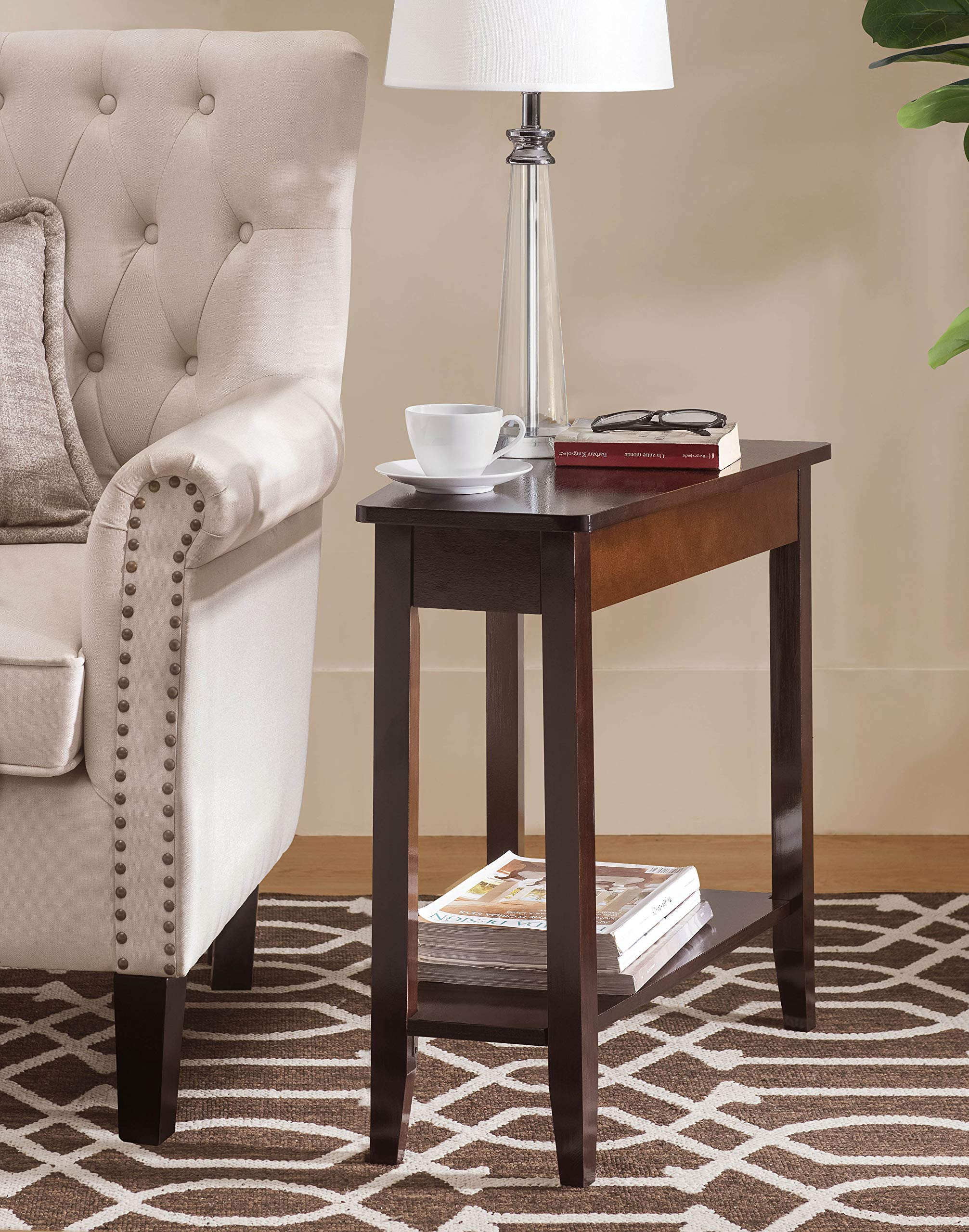 SJ Collection B12600003 Harbor Modern Wedge Side End Table, Small, Espresso