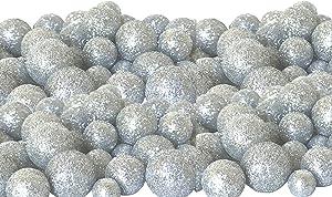 BANBERRY DESIGNS Silver Iridescent Foam Balls - 5 Bag Set of Glittered Vase Filler Decorative Balls - Table Scatter Decorations - Silver Party Decor - Sizes of Mini Glittery Silvery Snow Balls