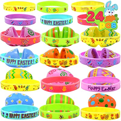 JOYIN 24 PCs Prefilled Easter Eggs with Silicon Rubber Bands Wristbands, Bright Colorful Easter Eggs Prefilled with Bunny Egg Bracelets for Kids Basket Stuffers and Party Decorations : Baby