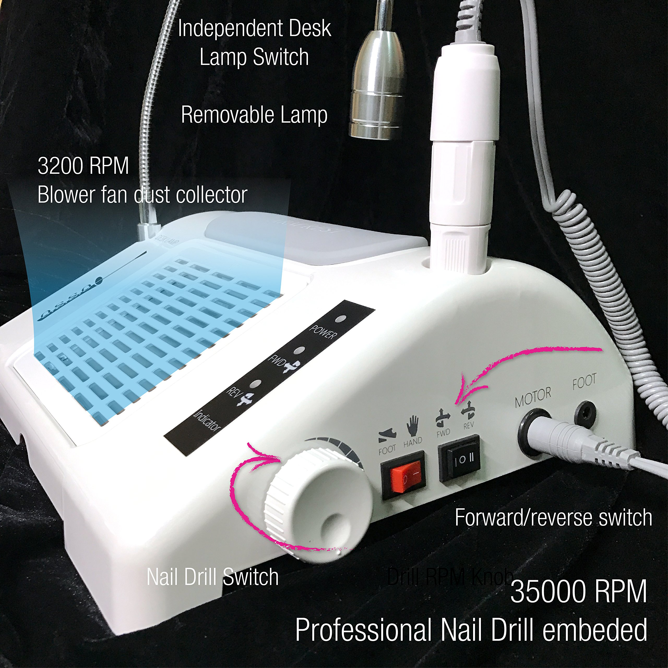 35000 RPM Nail Drill Dust Collector Desk Lamp 3-in-1 machine for salon by O.S.S.O Gel (Image #3)