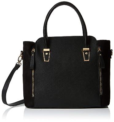 a27acd549c84 Dorothy Perkins Womens Medium Hardware Tote Canvas and Beach Tote Bag Black  (Black)