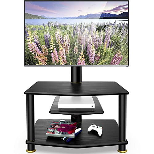 FITUEYES 3-Tiers Floor TV Stand with Swivel Mount and Height Adjustable Bracket for 32 to 55 inch Plasma Flat or Curved Screen TVs Black TV Stand Base TW307801MB