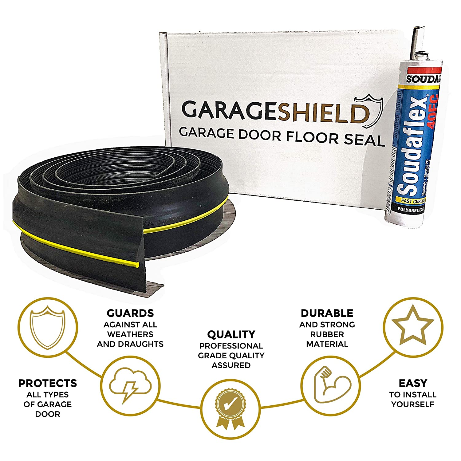 Garage Door Floor Threshold Weather Seal 2.5M Draught Excluder - Includes Free Sealant and Easy to Follow Installation Guide Wing&Co