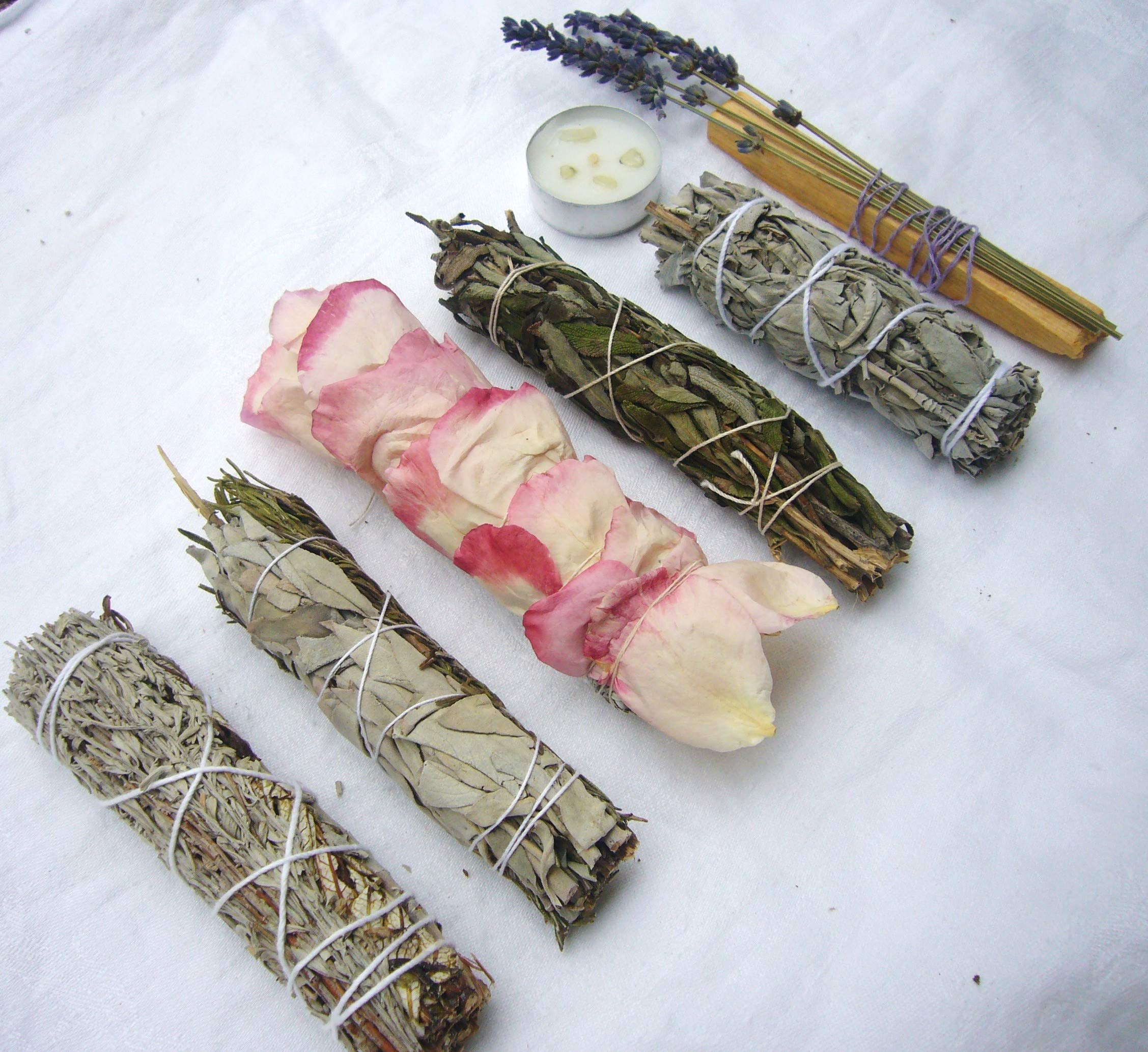 L'AMOUR yes! Luxury Smudge Kit | Rose White Sage, Rosemary, Lavender Smudge Stick, Yerba Santa & Blue Sage, White Sage, Palo Santo, Crystal Candle | Home Cleansing, Blessing, Manifesting, Rituals by L'AMOUR yes! (Image #5)