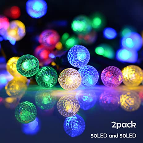 lalapao solar powered xmas outdoor string light 2 pack 50 led g12 fairy christmas decor globe
