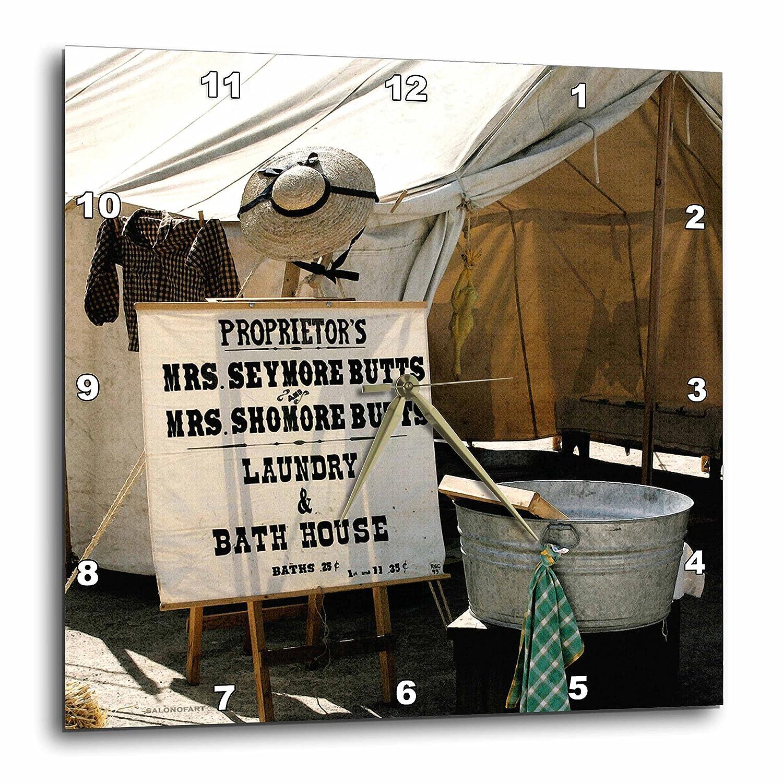3dRose dpp/_11975/_1 Wall Clock Mrs Butts Bath House 10 by 10-Inch
