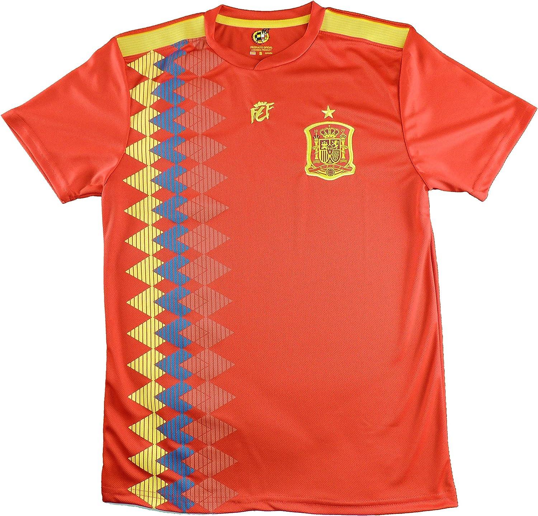 LICECIA DE LA REAL FEDERACION DE FUTBOL ESPAÑOLA Camiseta Iniesta Infantil España. Producto Oficial Licenciado Mundial Rusia 2018. (Rojo, Talla 6): Amazon.es: Deportes y aire libre