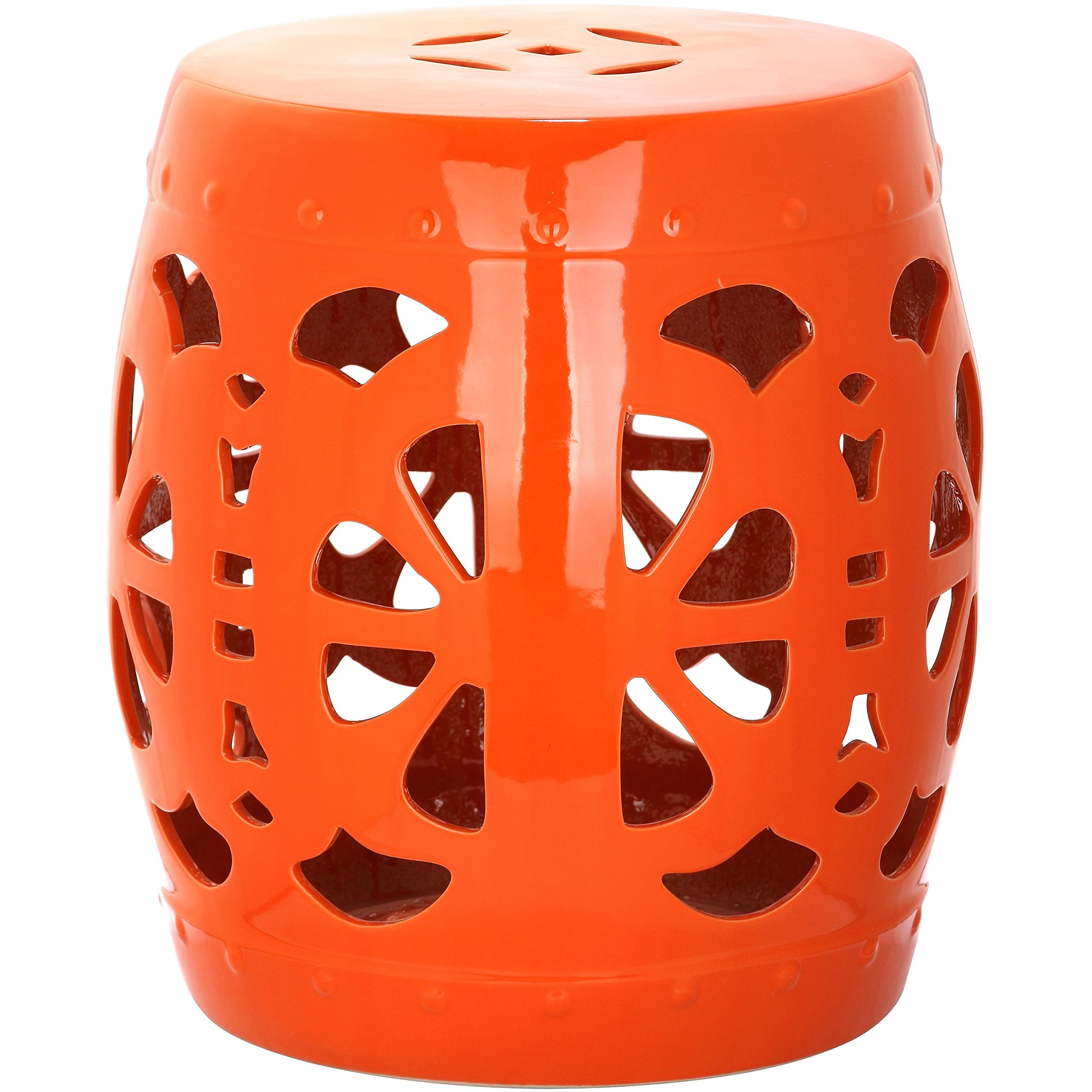 Safavieh Castle Gardens Collection Stencil Blossom Orange Glazed Ceramic Garden Stool