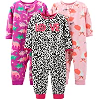 Simple Joys by Carter's 3-Pack Loose Fit Flame Resistant Fleece Footless Pajamas Niñas, Pack de 3