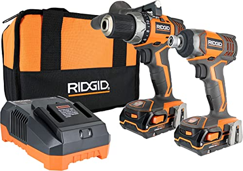 Ridgid X4 R9602 18V Lithium Ion Cordless Drill and Impact Driver Combo Kit with Soft-Sided Tool Case 2 Tools, 2 Compact Batteries, Charger, and Bag Included