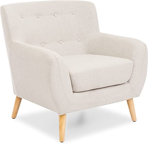 Best Choice Products Linen Upholstered Modern Mid-Century Tufted Accent Chair