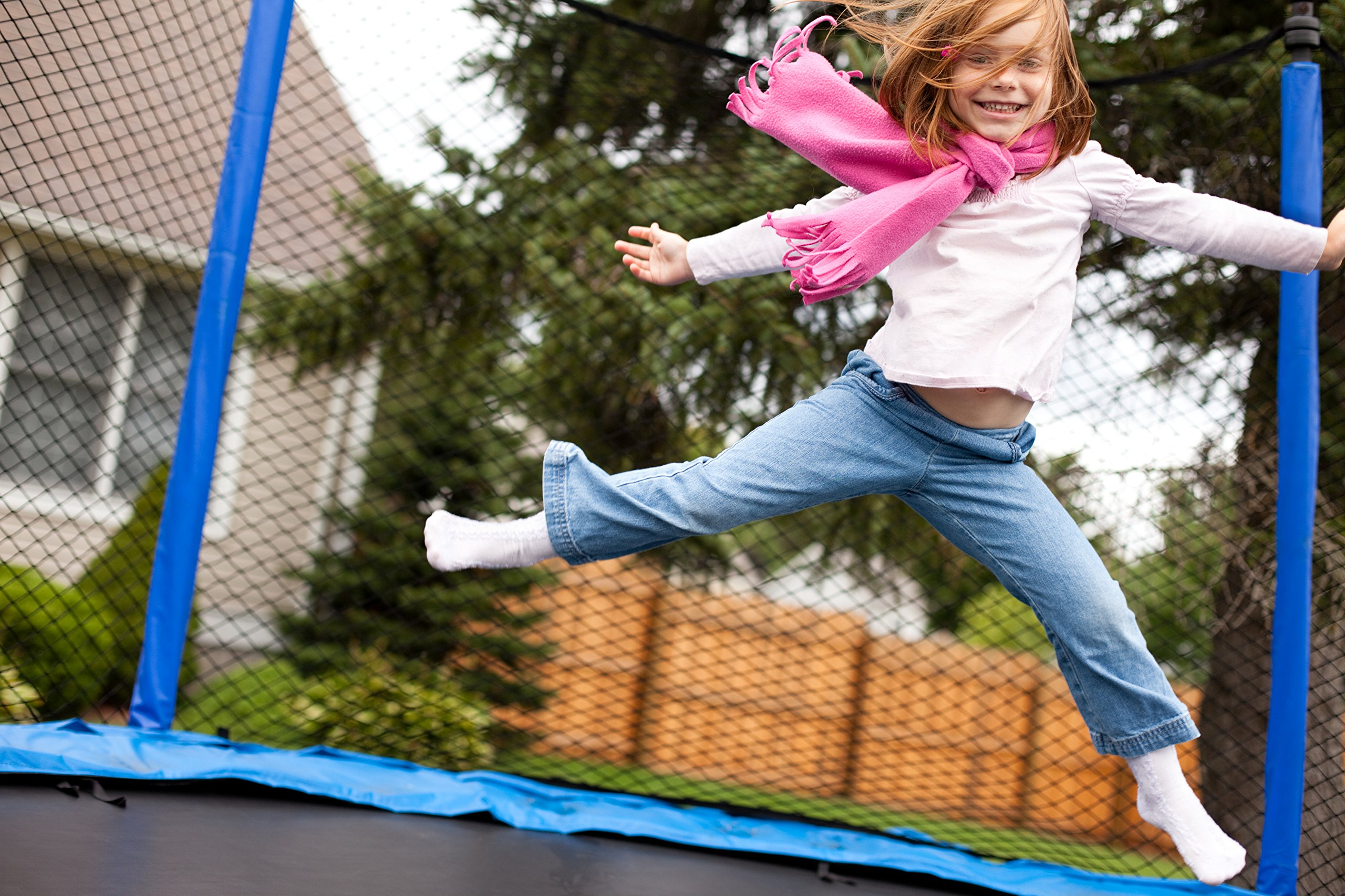 Nets For Trampoline Enclosures | By Trampoline Pro | Select Your Pole Type | Select Your Size, Shape, and Number of Poles | NETS ONLY (Arched Poles (Sleeves), 14ft Frame - 4 Arches) by Trampoline Pro