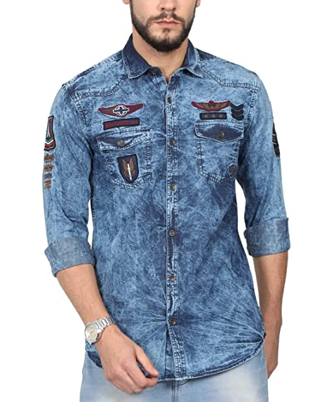 292471c168f NORTH REPUBLIC Men s Printed Denim Full Sleeves Slim Fit Casual Shirt (Denim  Blue   Large