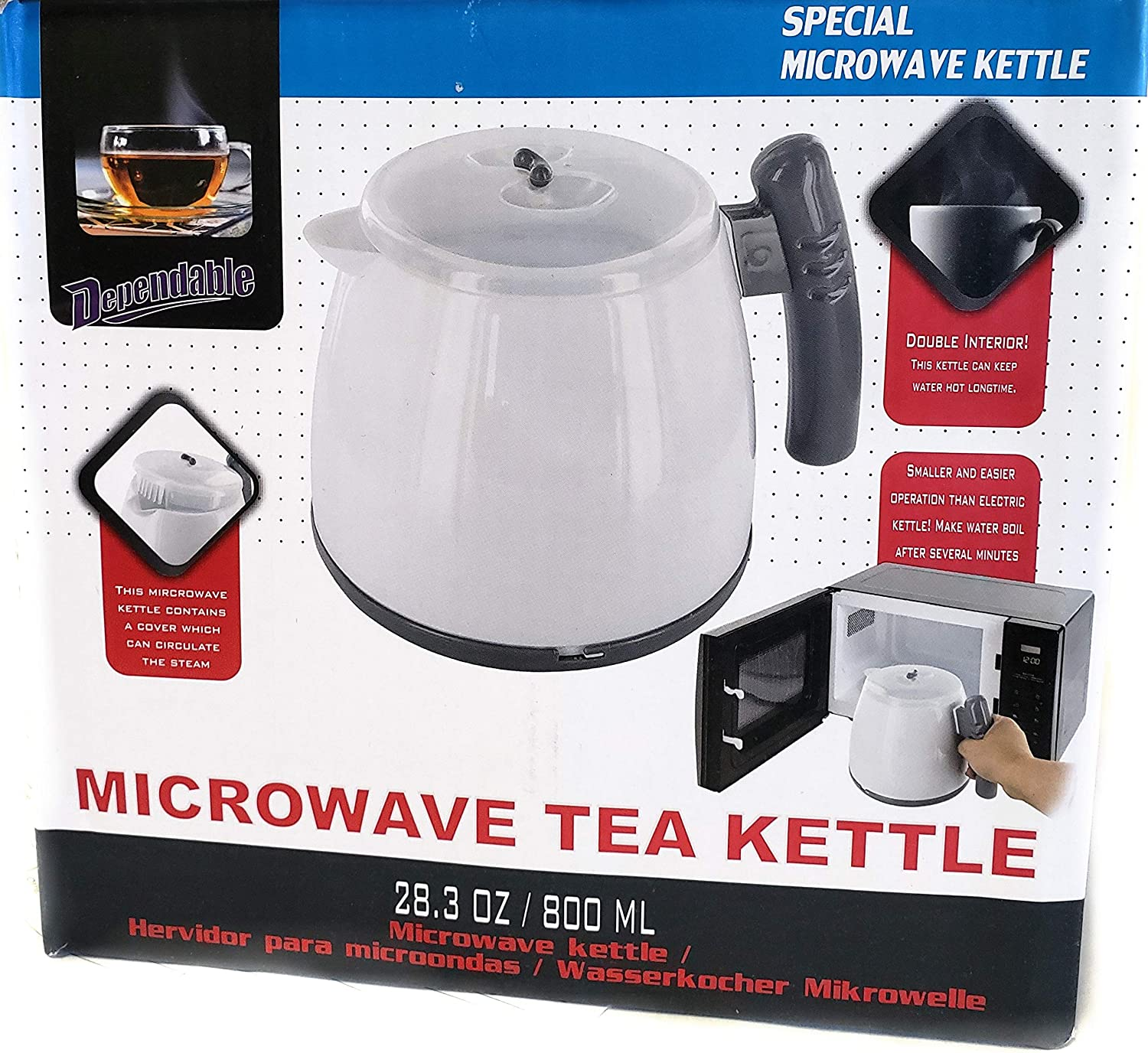 Microwave Tea Kettle Hot Pot Water Boiler 28 Ounce (800ML)