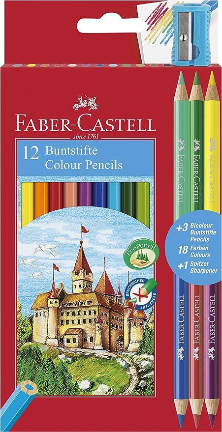 Estuche promoción 12 lápices color hexagonales + 3 lápices bicolor redondos, 18 colores surtidos: Amazon.es: Oficina y papelería