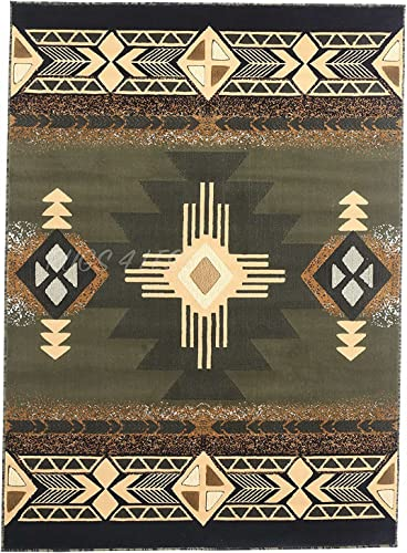 Rugs 4 Less Collection Southwest Native American Indian Area Rug Design R4L 318 Olive Green