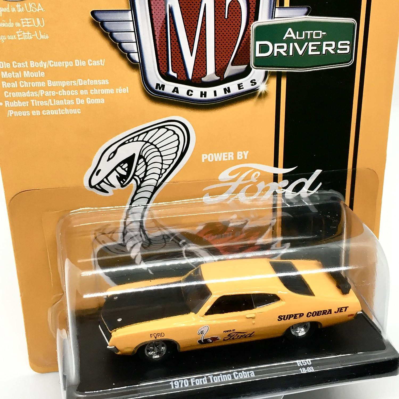 Amazon.com: M2 Machines 1970 Ford Torino Cobra (Grabber Orange w/Semi-Gloss Black Hood) Auto-Drivers Release 50 - Castline 2018 Special Edition 1:64 Scale ...