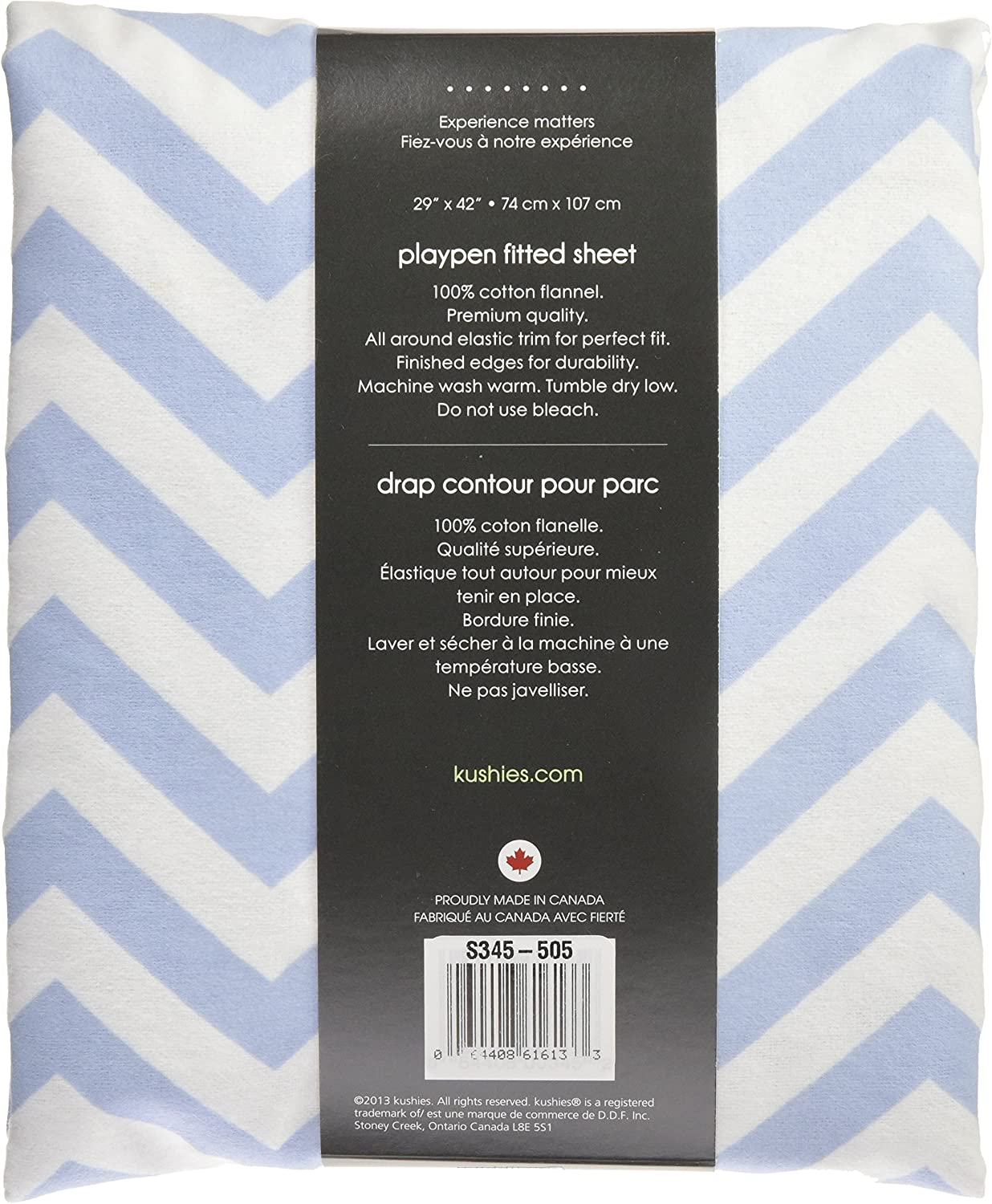 Blue Chevron Soft 100/% breathable cotton flannel Kushies Pack N Play Playard Sheet Made in Canada