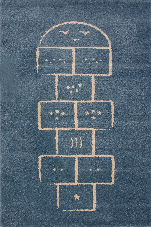 Art Kids Kunst für Kinder Qualitätslabel Oeko-Tex Standard 100 Hopscotch Kinderteppich, 100 Prozent Polypropylen, Blau, 135 x 190 cm