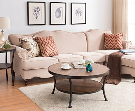 Amazoncom Vintage Brown Black Frame Tier Round Occasional - 2 tier round coffee table